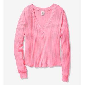 VS PINK Long Sleeve Cozy V Neck Sweater XS